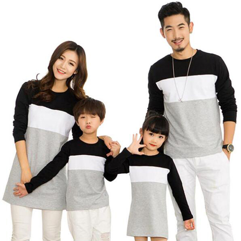 New 2019 Family Clothing Family Look Mother Daughter Dresses Father Son T-Shirt Cotton Patchwork Striped Family Matching Outfits