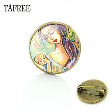 TAFREE Classic Mom And Baby Watercolor Painting Glass Brooches Pins Vintage Antique Bronze Badge Clothes Bag Accessories MM217(China)