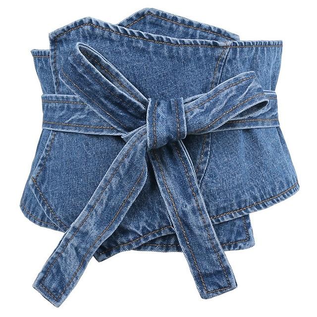 37bb0d4faf Jean Fabric Belt For Women European Style Washed Denim Self-Tie Super Wide  Waist Belt