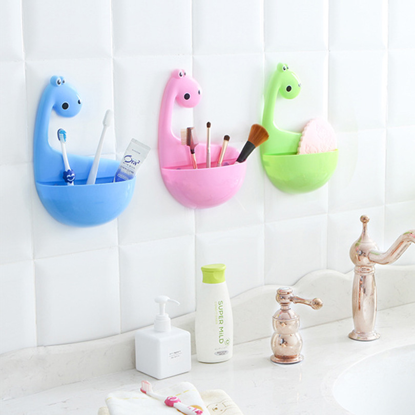 Toothbrush Holder Cosmetic Storage Box Dinosaur Storage Holders For Toothpaste Draining Rack Bathroom Sundries Shelf EGN413 image