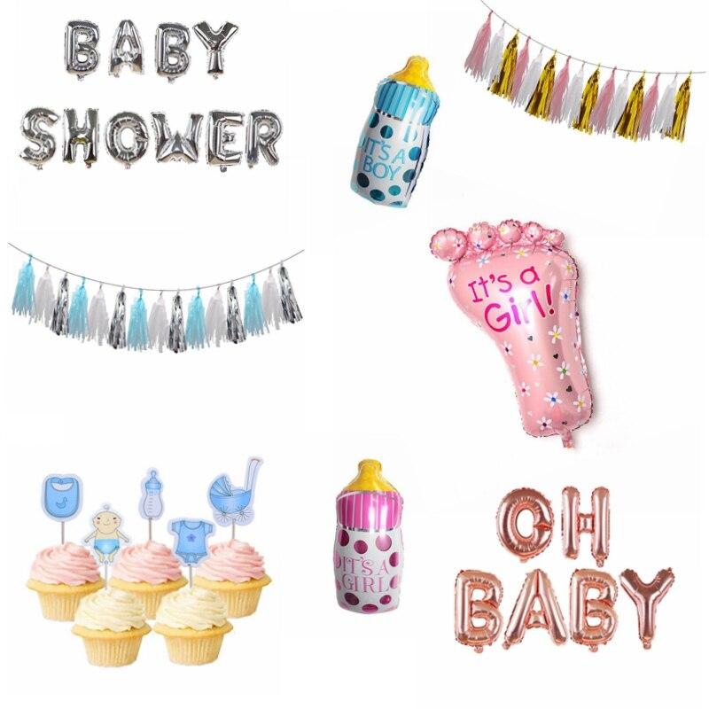 Baby Shower Jongen Meisje Opknoping Decoratie Het EEN Jongen Meisje Oh Baby Ballon Geslacht Onthullen Kids Verjaardagsfeestje Decoratie levert 75 3