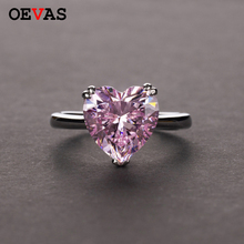 OEVAS Solid 925 Sterling Silver Wedding Rings Sparkling Topaz Aquamarine Ruby High Carbon Diamond Heart Fine Jewelry Wholesale