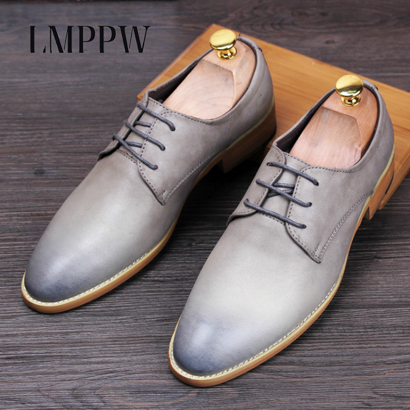 British Fashion Bullock Men's Vintage Leather Shoes Pointed Toe Lace-up Oxford Shoes Genuine Leather Men Flats Moccasins Sapatos