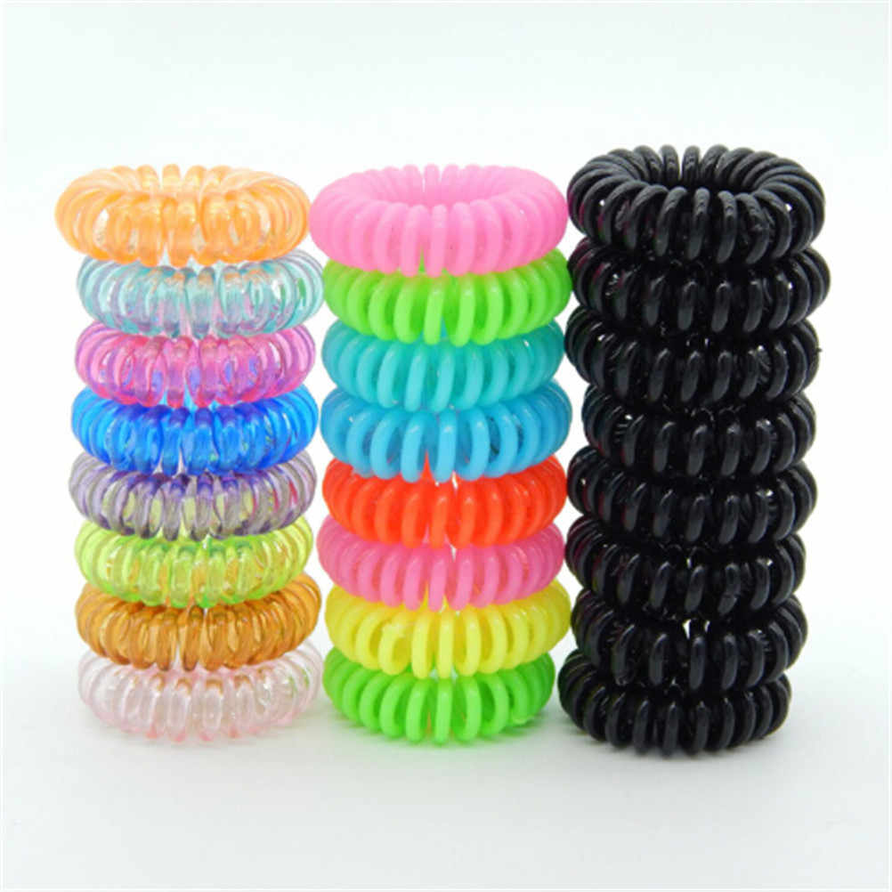 10Pcs Elastic Clear Telephone Wire Hair Bands Plastic Spring Gum For Hair Ties No Crease Coil Hair Tie Ponytail Hair Accessories