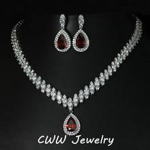 CWWZircons Нигерии Большой Капли Воды Цирконий Установка Красный Кристалл Свадебные Ювелирные Наборы Подарки Для Подружек Невесты T110