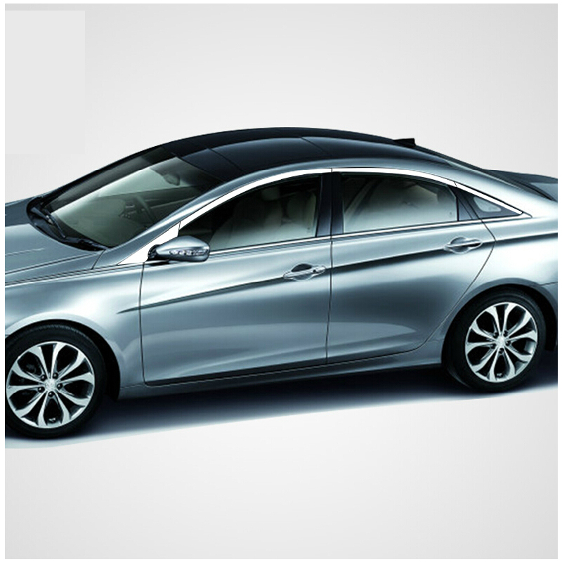 free shipping 304 stainless steel car window chrome trim for hyundai sonata i45 2009 2010 2011 2012 2013 2014 Sixth generation high quality stainless steel chrome body side moulding cover trim for 2009 2010 2011 2012 2013 2014 audi q5 car styling
