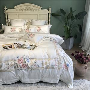 Image 4 - 800TCอียิปต์ผ้าฝ้ายเย็บปักถักร้อยสีขาวชุดเครื่องนอนชุดQueen King Sizeผ้าคลุมเตียงแผ่นชุดParure De lit