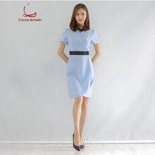 Spring and summer new beauty salon beautician dress short sleeve spa health technician wear medical cosmetology working dress