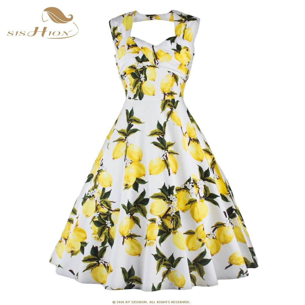 SISHION 2017 Floral Lemon Dress Plus Size Womens