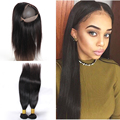 raw indian straight hair 360 Lace Frontal Closure with bundles bleached knots Pre Plucked 360 Lace Virgin Hair With baby hair