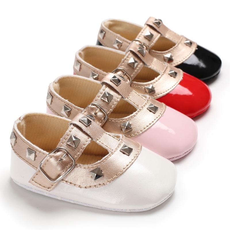 Autumn Winter Stitching Rivet Princess Shoes Cute Baby Girl Soft Soled PU Infant Walking Cradle Shoes