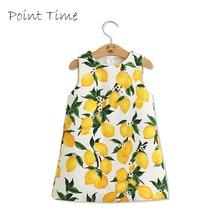 цена на Girls Dress Brand 2016 Summer Girls Dresses Kids Clothes Cotton Lemon Floral Print Wedding Dress Girl Vetement Fille
