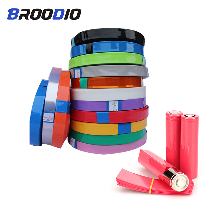 100PCS 18650 Li-ion Lithium Battery Heat Shrink Tube Tubing PVC Shrinkable Film Tape Sleeves Battery Wrap Cover Skin Accessories