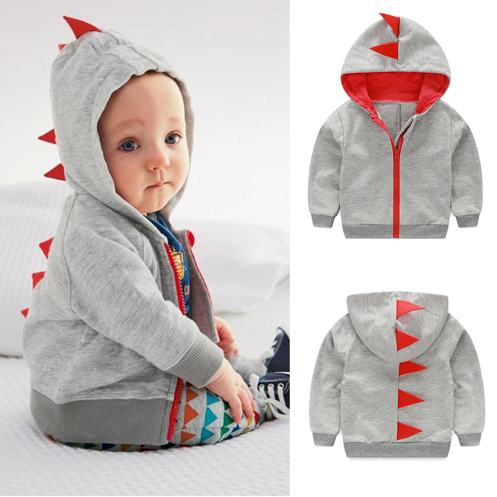 Infant Toddler Baby Boy Girl Dinosaur Pattern Hooded Zipper Tops Clothes Coat(China)