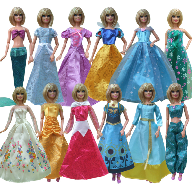 Dolls Accessories Toys & Hobbies Free Shipping 5sets/lot Anna Elsa Snow White Mermaid Cinderella Princess Dress For Barbie Doll Punctual Timing