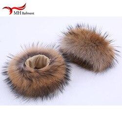 Puños de piel de mapache, brazalete de piel auténtica para mujer, brazalete de piel auténtica, guante de piel de mapache, calentadores de brazo
