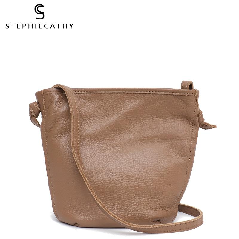 SC Women Real Leather Messenger Bag Small Leather Bucket Vintage Shoulder Bag Ladies Soft Leather Handbag