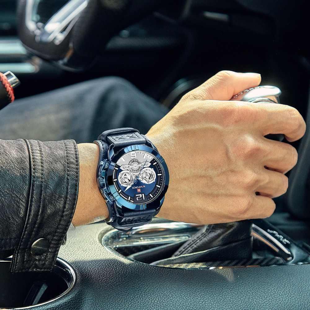 Naviforce Jam Tangan Pria Kulit Tentara Militer Retro Steampunk Olahraga Pria Jam Tangan QUARTZ Arloji dengan Tanggal Hodinky Relojes Hombre
