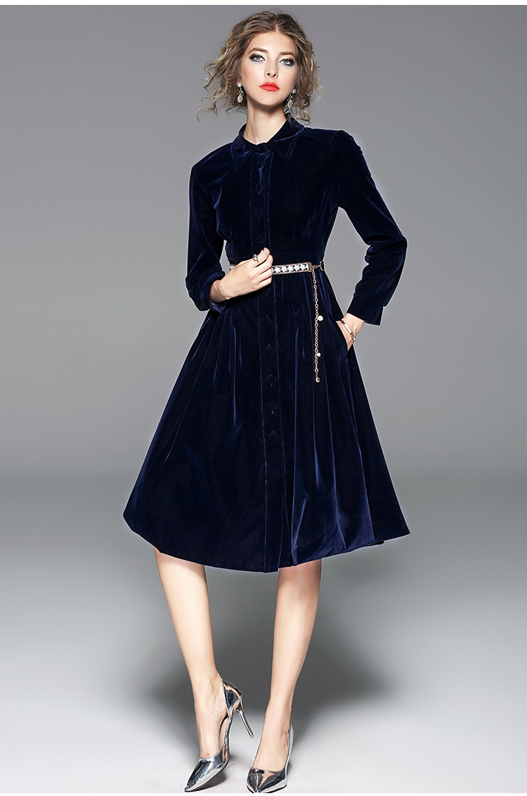 Vestito A Bordare Vestido Velluto Maniche Modo Blu Color Con Ol Donna Di Inverno Lunghe Nuovo Casuale 2018 Picture Cintura Ufficio Monopetto Uxqfw8wSn
