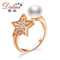 DAIMI красивое кольцо 8 9 мм пресноводные жемчужные кольца Брендовое Ювелирное кольцо со стразами Свадебные обручальные кольца для женщин