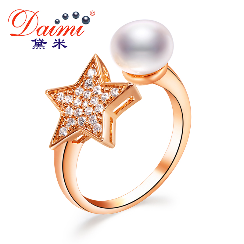 DAIMI Beautiful ring 8-9mm Freshwater pearl rings Brand Rhinestone Ring Jewelry Wedding Engagement Rings For Women stylish faux pearl rhinestone eye ring for women