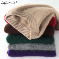 Lafarvie Fashion Mink Cashmere Blended Men Knitted Sweater Autumn Winter Off Sale Standard Solid Pullover Full Sleeve O Neck