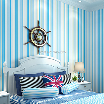 Mediterranean striped wallpaper for kids,Living room TV backdrop bedroom children's room blue wallpaper