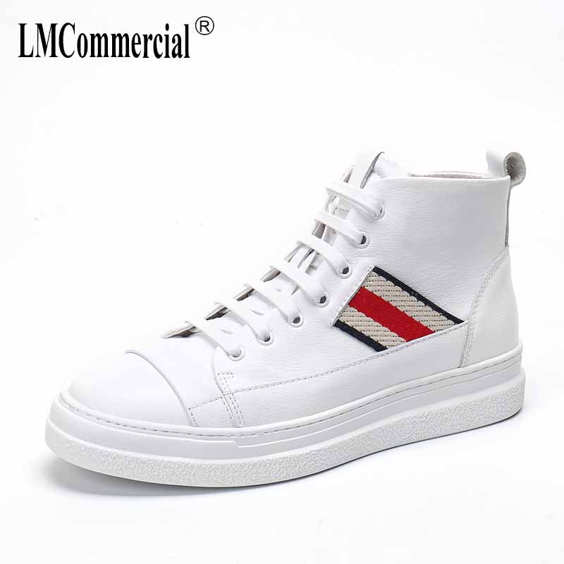 Real Leather Men's high top shoes spring autumn winter casual boots Korean all-match cowhide breathable Martin boots men British
