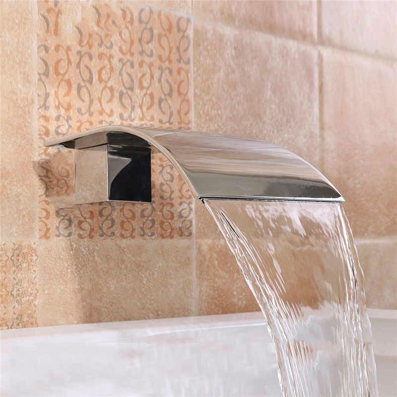 Robinet de lavabo carré cascade en laiton massif robinet de salle de bain mural G1/2 ''robinet de lavabo en argent baignoire douche Fauce''t