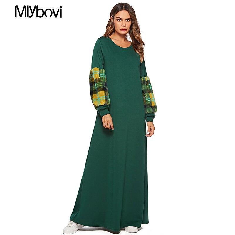 Femmes Maxi manches longues robe vert grande taille Patchwork marocain caftan vêtements islamiques robe musulmane longueur de plancher robe