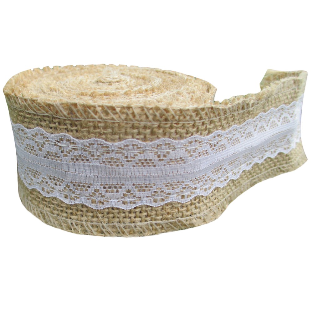 5m roll jute burlap hessian ribbon ribbon with lace. Black Bedroom Furniture Sets. Home Design Ideas