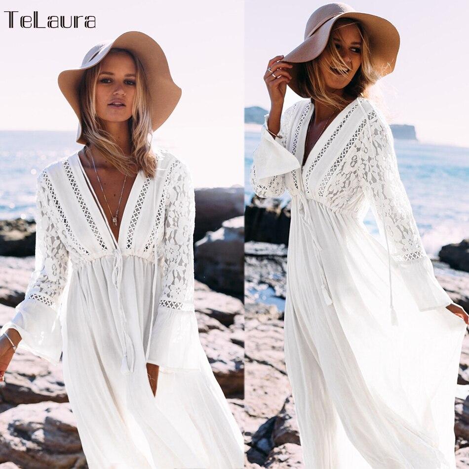 Swimsuit Cover-Up Long-Dress Beach-Tunic Summer Bikini White Women V-Neck Hollow-Out