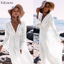 2019 Sexy Beach zakrywający strój kąpielowy biały V Neck Hollow Out plaża długa sukienka kobiety strój kąpielowy bikini strój kąpielowy tunika plażowa na lato