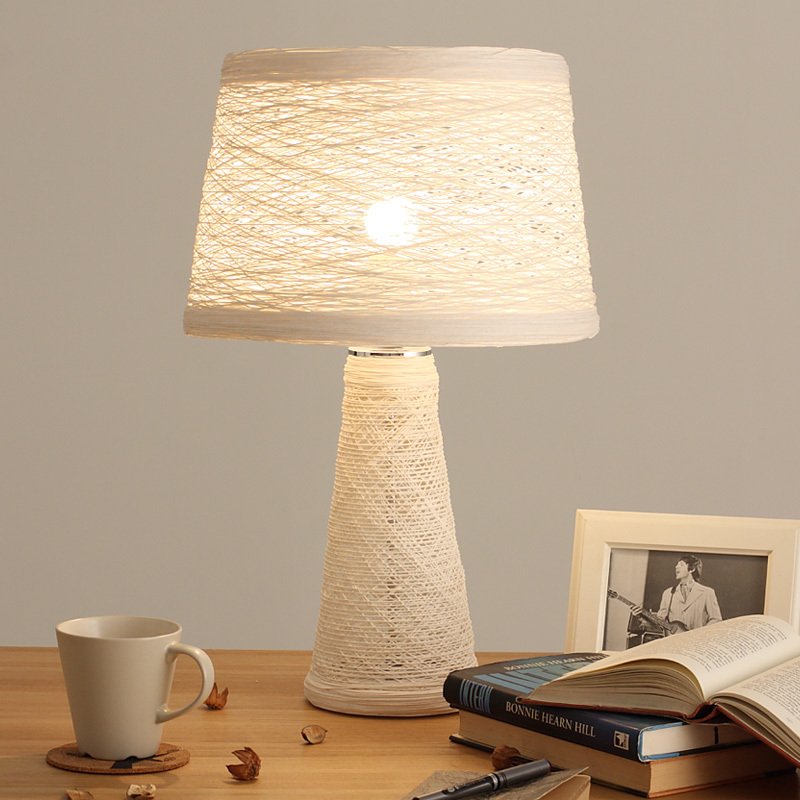 Rattan Rope Lighting Led Desk Lamp Bedroom Bedside Lamp Nordic American Country Simple Rural Style Table Lamp Table Decor Lights