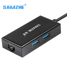 SAMZHE Type C to RJ45+USB 3.0 Port Adapter Converter 30cm Length for Macbook and Computer Peripheral