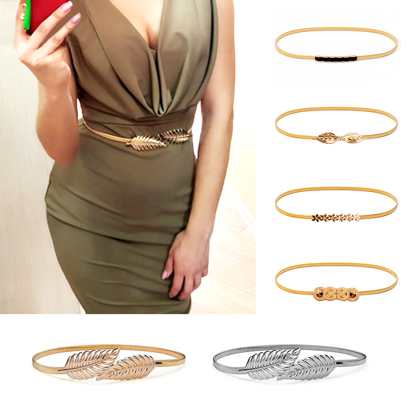 0ea1f530e Flower Leaf Shape Belts For Women Wedding Designer Elastic Girl Stretch  Skinny Waist Belt Cummerbunds Metal Female Belt ceinture-in Women's Belts  from ...