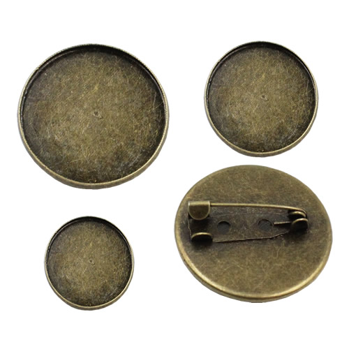 20pcs/lot Vintage Round Blank Metal Setting Bezel Blank Base Cabochon Brooch With Inner Dia.12mm 16mm 18mm 20mm 25mm 30mm K05060