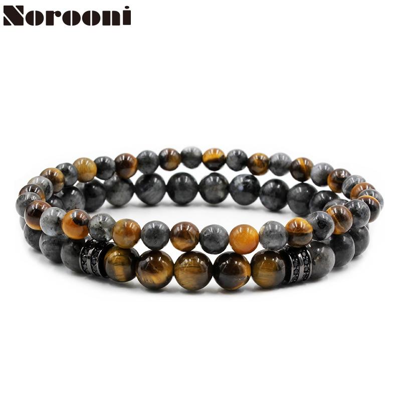 Norooni 2pc/set Tiger Eye Stone Beads Bracelet Buddha Charm Bracelets & Bangle Mew Men Labradorite Stone Micro inlay zircon