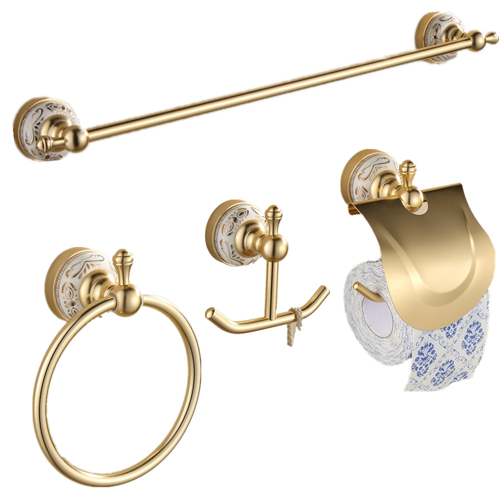 AUSWIND Gold Entique Bathroom Hardware Set Ceramic Decorate Wall Mounted Bathroom  Hardware Set Aluminum Alloy Bathroom