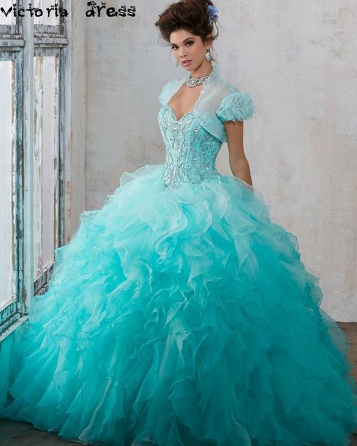 Vestidos de 15 años debutante vestido cinderela quinceanera inchado vestido de baile azul do aqua vestidos quinceanera 2016 sweet 16 vestidos