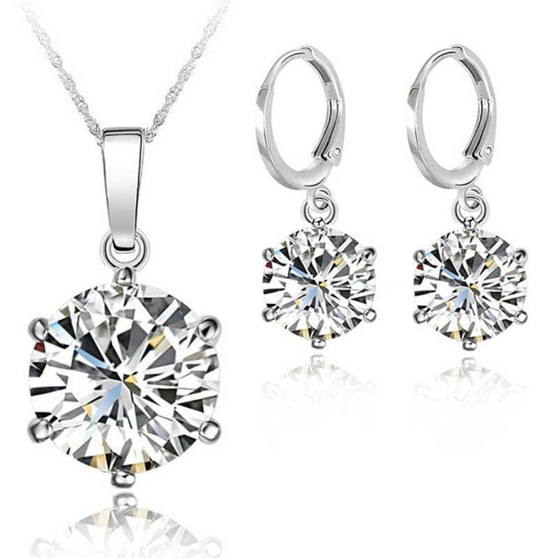 925 Sterling Silber Hochzeit Engagement Kristall Schmuck Sets Für Frau Zirkonia Anhänger Halskette Ohrringe Set Bijoux