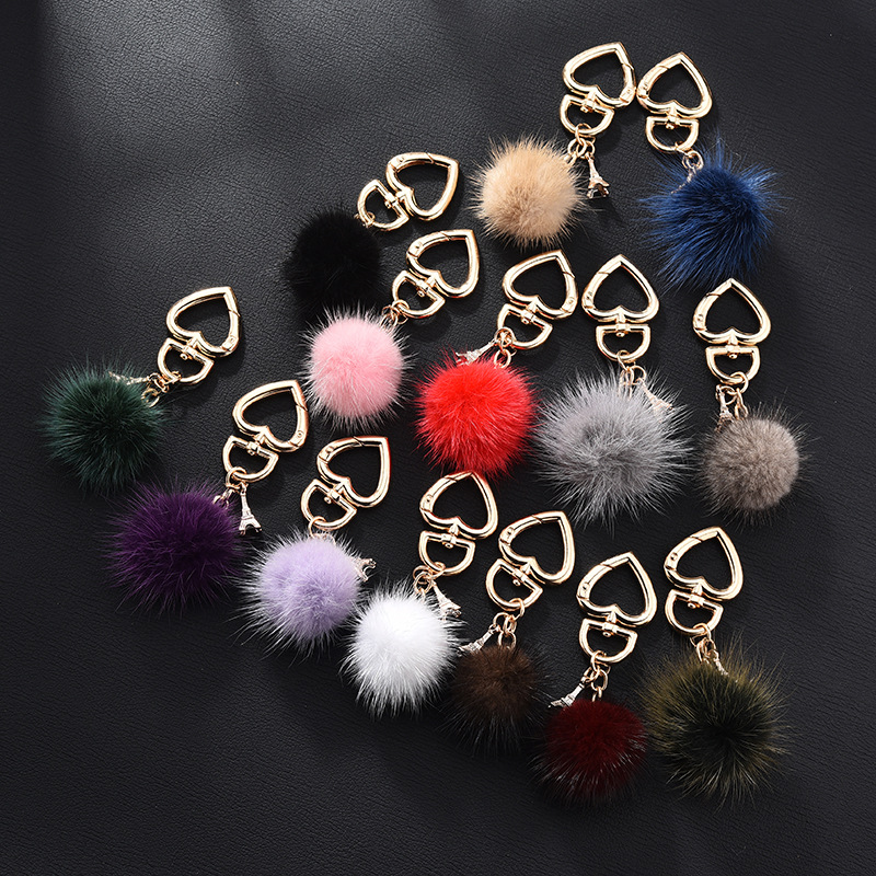 New Really Water Mink Fur Ball Heart Key Chain Fur Charm Car Key Ring Love Plush Pendant Keychain Party Gift Jewelry K3003
