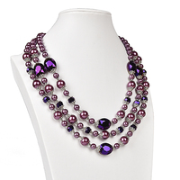 Black luster transparent multi chain Synthesis pearl add Glass crystal 3 rows necklace, beautiful and not exaggerated