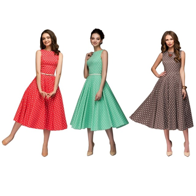 9fe5e2ec19a0 Women's Summer Vintage Polka Dot Printed Sleeveless Swing A-Line Midi Dress  Country Style Mid Empire Waist O-Neck Pleated Boho
