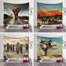 Ins Elephant Series Home Hanging Tapestry Decorative Printed Wall Hanging Tree Natural Scenery Tapestry Living Room Decor home decor elephant print wall hanging tapestry