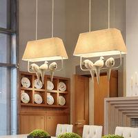 Birds Pendant Lights Vintage Lamp Resin Bird Fabric Lampshade For Kitchen Lighting Dining Room Retro Loft