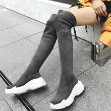 NAYIDUYUN  Women Velvet Stretch High Heel Over The Knee long Sneaker Shoes Wedges Platform Slim Leg Thigh Motorcycle Boots