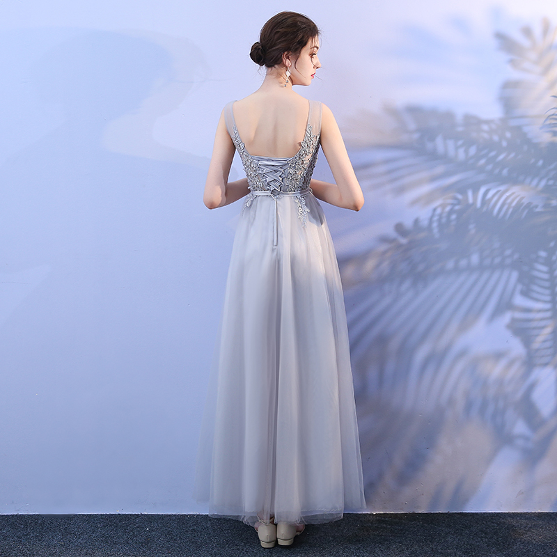 V neck Sleeveless Dress Women Wedding Party Bridesmaid Dress Elegant Long Dress Back of Bandage Grey Colour in Bridesmaid Dresses from Weddings Events