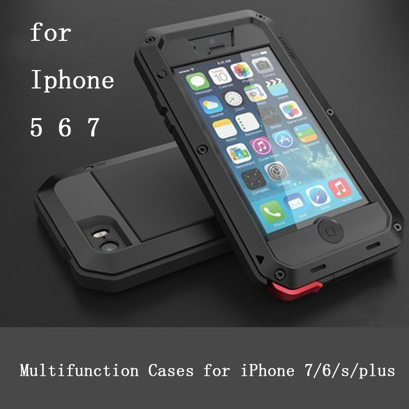Metal Extreme Shockproof Military Heavy Duty Tempered Glass Cover Case Skin for iPhone 6 7 5 4.7