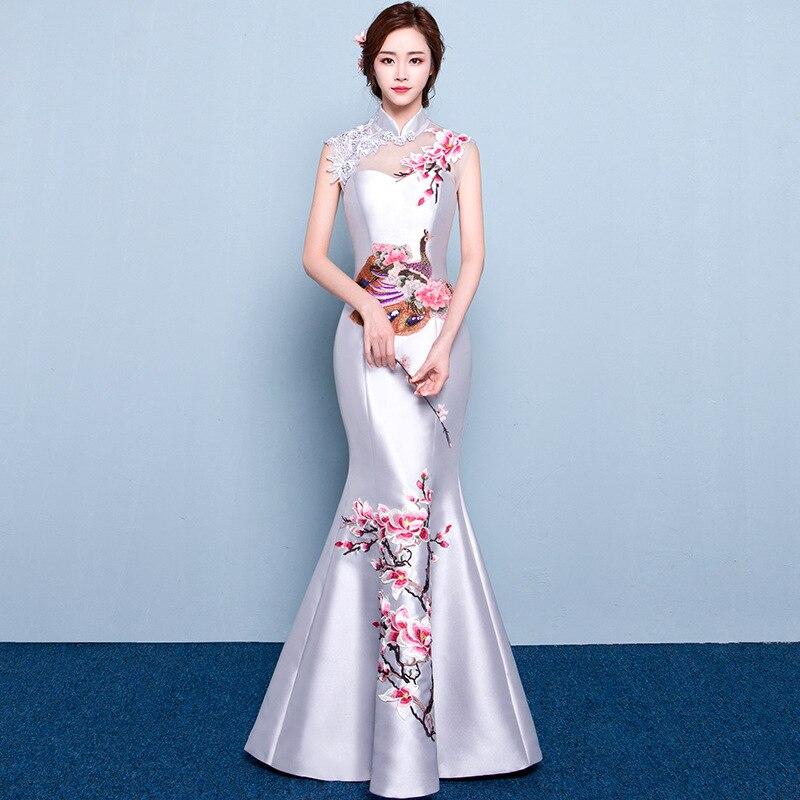 Mode mariage fête Cheongsam Oriental Robe de soirée Style chinois femmes élégant Qipao Sexy longue Robe rétro Vestido S-3XL